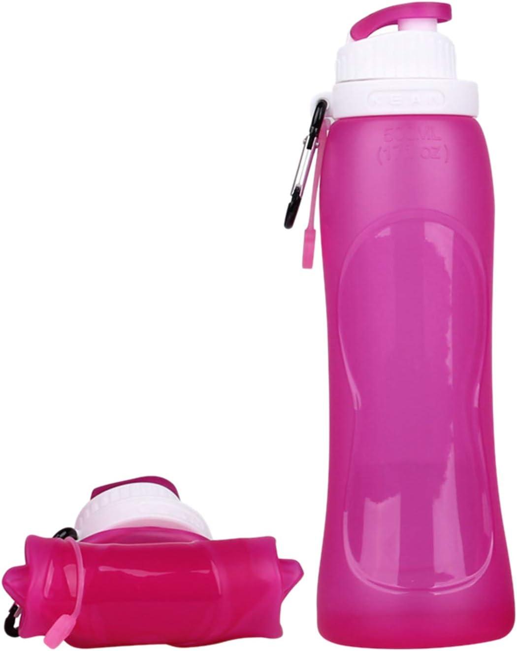 La Botella de Agua Plegable de Silicona de 17oz (500ML) con una manija para los Deportes y el Tratamiento Medicinal al Aire Libre