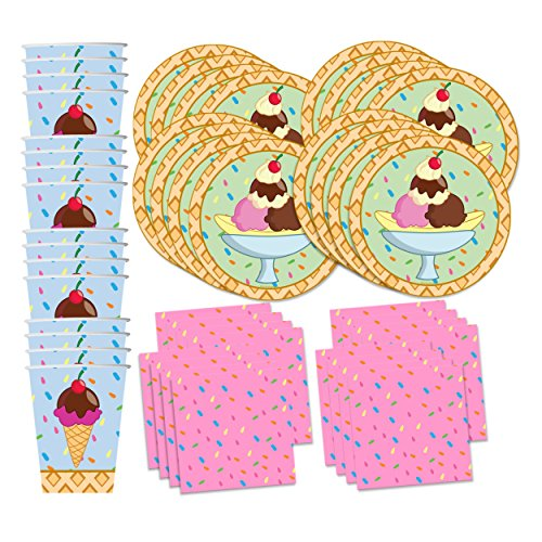 Ice Cream Table (Ice Cream Shop Birthday Party Supplies Set Plates Napkins Cups Tableware Kit for 16 by Birthday Galore)