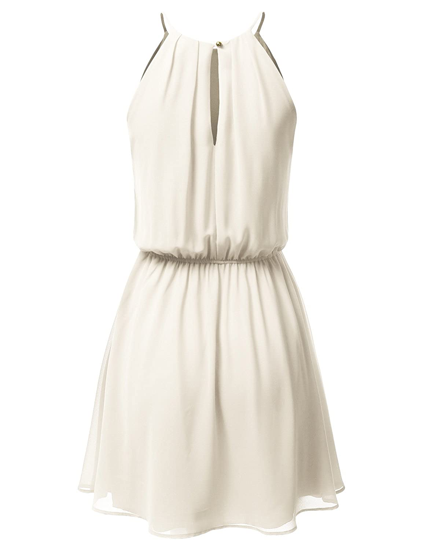 JJ Perfection Women s Sleeveless Double-Layered Pleated Mini Chiffon Dress  at Amazon Women s Clothing store  ecb601907