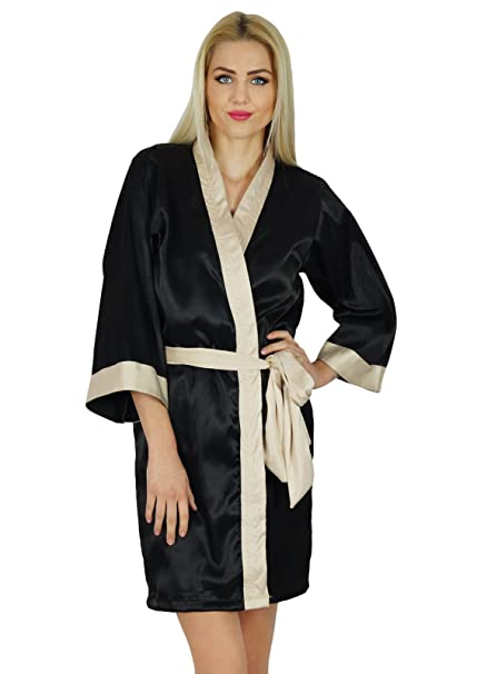 81ad16b14e Bimba Women Short Classic Satin Robe Bride Bridesmaid Robe Kimono Sleeve  Coverup