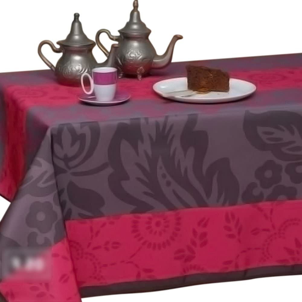 My Jolie Home 63-Inch Round Tablecloth Fuchsia and Purple, Stain Resistant, Washable, Liquid Spills Bead up, Seats 4 to 6 People (Other 60x80, 60x95, 60x120).