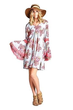 bc797f2dd60 Velzera Women s Floral   Paisley Fringe Tunic Dress Boho Chic Reg   Plus  Size (Small