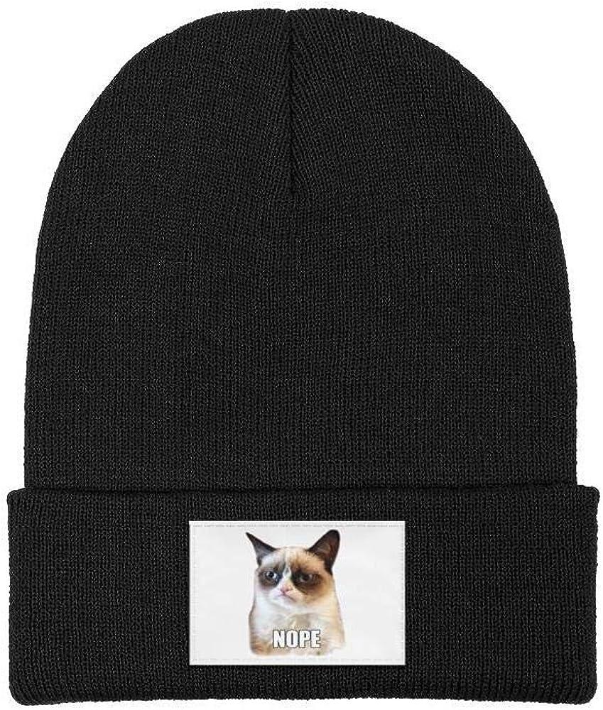 LQIAO Cat Nope Fine Knit Beanie Cap Cuffed Hat Crazy Skull Hats