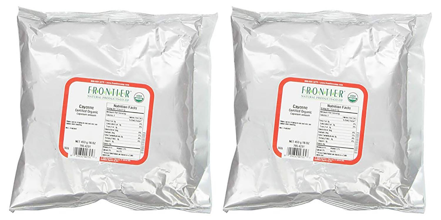 Frontier Chili Peppers Ground, Cayenne Cert. Org. 30,000 Hu, 16 Ounce Bag (2 Pack)