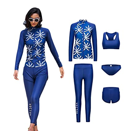 6bb2ba44e6 VECTOR 5Pcs Women Long Sleeve Wetsuit Swimsuit Shirt Printed Surfing Pants  Diving Snorkeling Suits UPF 50