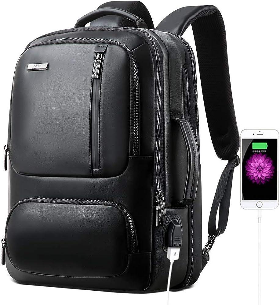 BOPAI 20L Leather Laptop Backpack for Men Intelligent Increase Backpack with USB Charging Travel Backpack Men