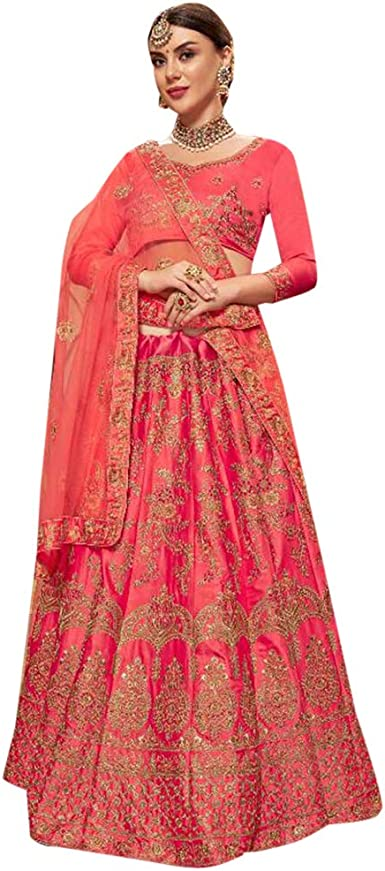 Amazon Com Pink Satin Silk Zari Embroidered Wedding Lehenga Choli With Bridal Net Dupatta Indian Ethnic Designer Women Wear 7642 Clothing