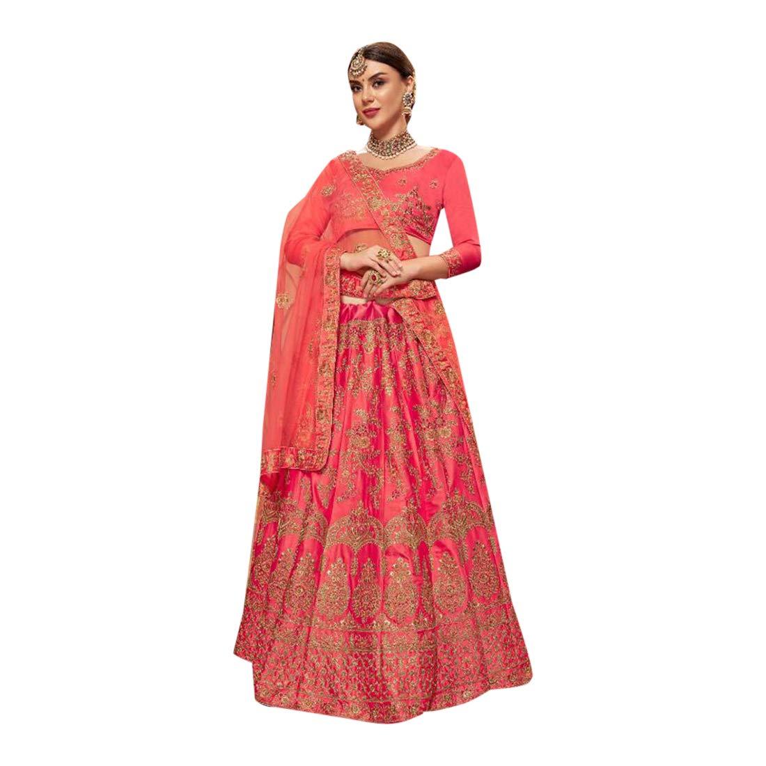 Pink Satin Silk Zari Embroidered Wedding Lehenga choli with Bridal Net Dupatta Indian Ethnic Designer Women wear 7642