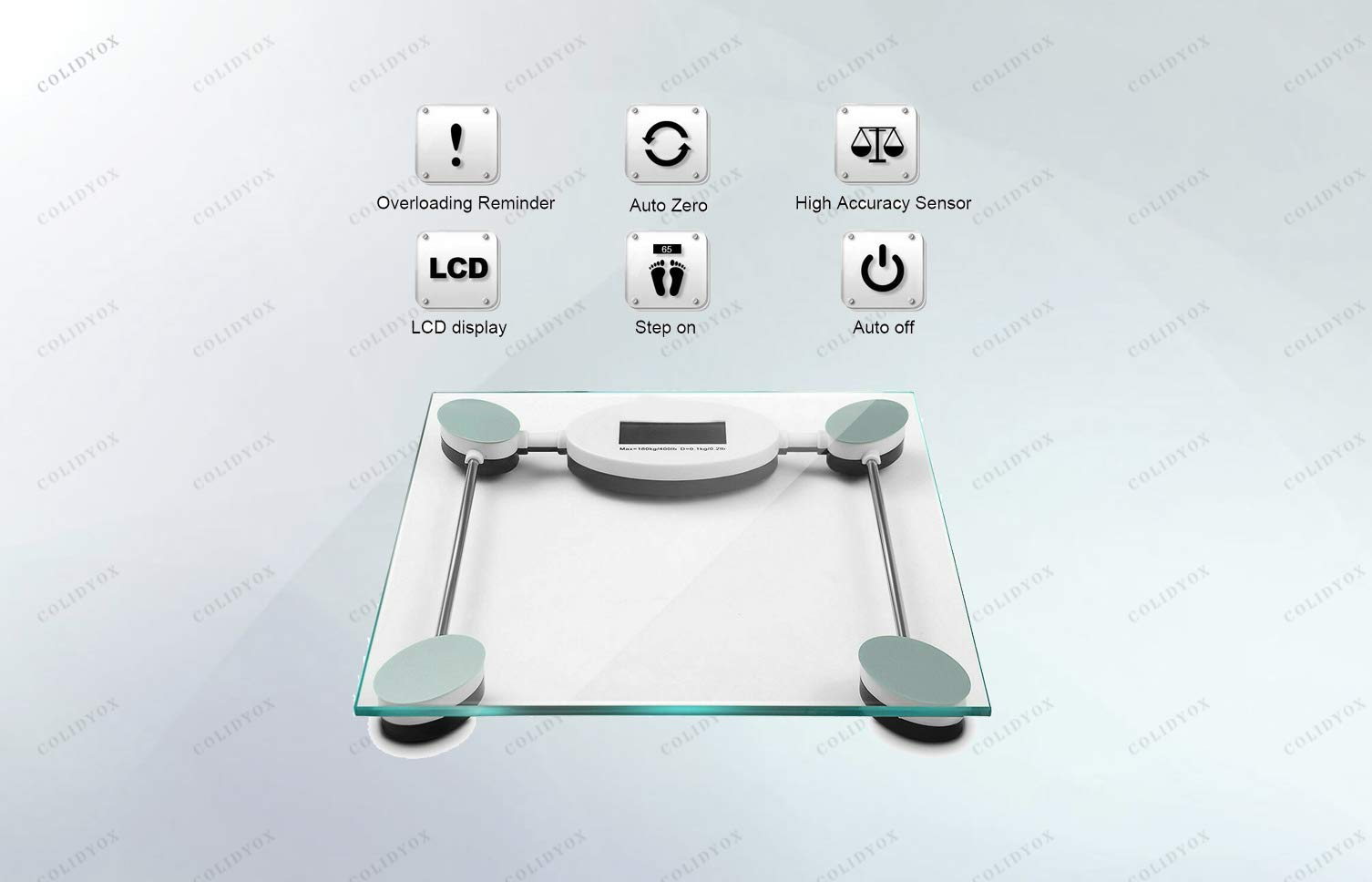 COLIBROX>180kg/396lb Digital Personal Bathroom Body Glass Weight Heath Fitness LCD Scale, LCD Screen, high-Precision Sensor, Built with a 6mm (About 0.2'') Thick Clear Tempered Glass.