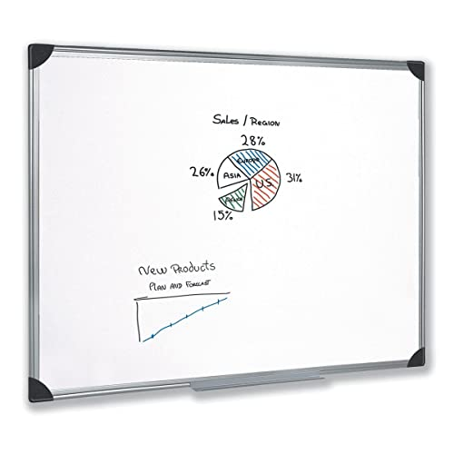 5 Star Easy Office Supplies (W1200mm X H900mm) Whiteboard Drywipe Magnetic  With Pen Tray