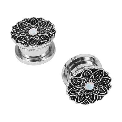 Amazon.com: Vintage flor acero inoxidable de oreja calibre ...