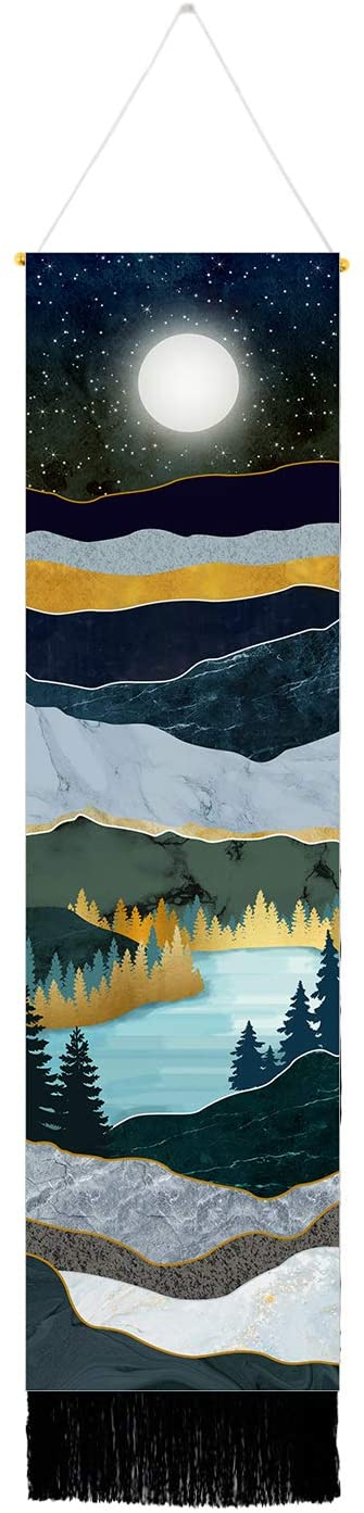 Mountain Tapestry Moon Starry Night Sky Tapestries Forest Tree Lake Tapestry Nature Landscape Tapestry for Room (Navy Blue, 12.8 x 51.2 inches)
