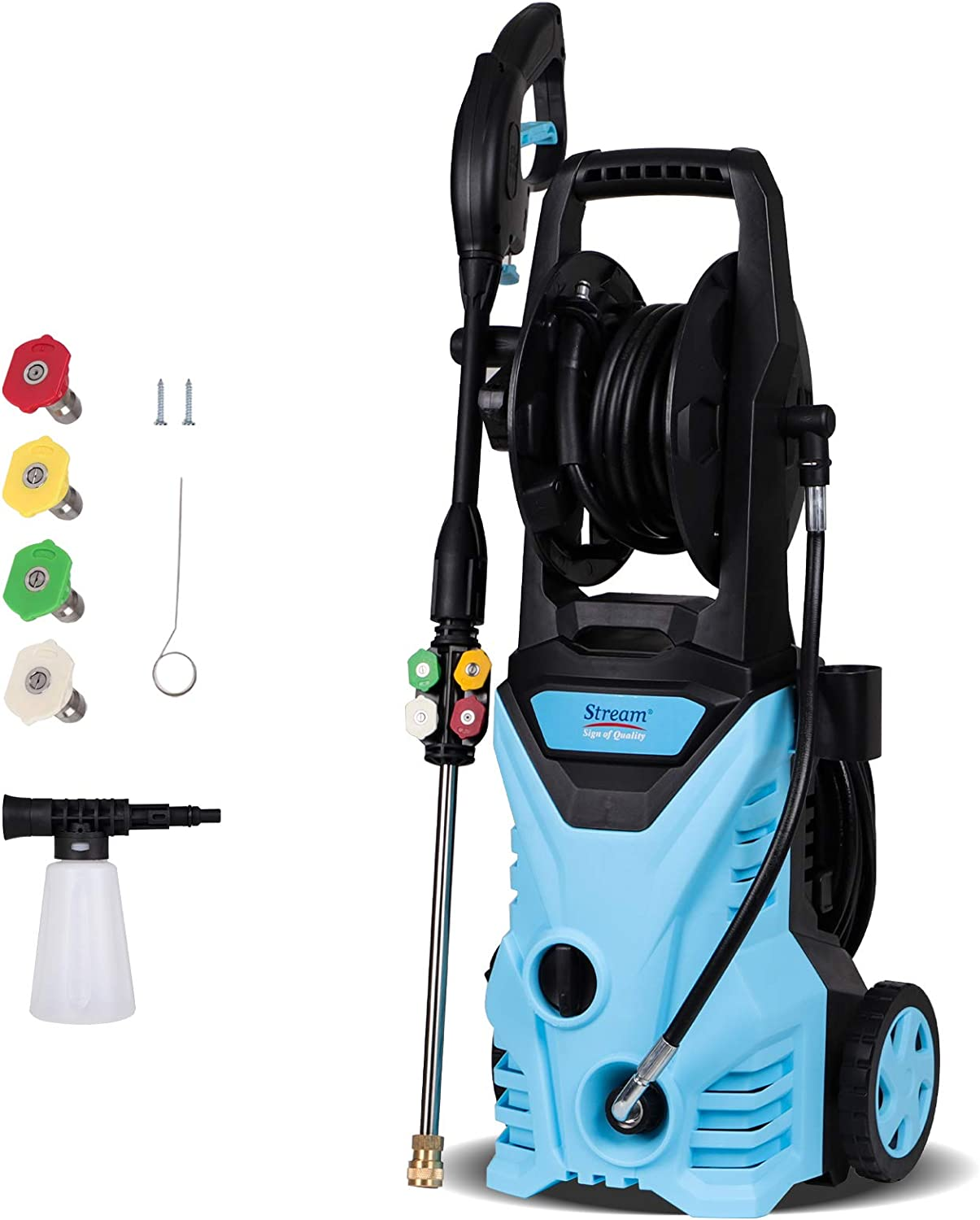 2850PSI Pressure Washer, 1650W Electric Power Washer, 1.7GPM High Pressure Cleaner with Spray Gun, 5 Nozzle Adapter and 20ft Hose for Cleaning Homes, Cars, Driveways, Patios (Blue)