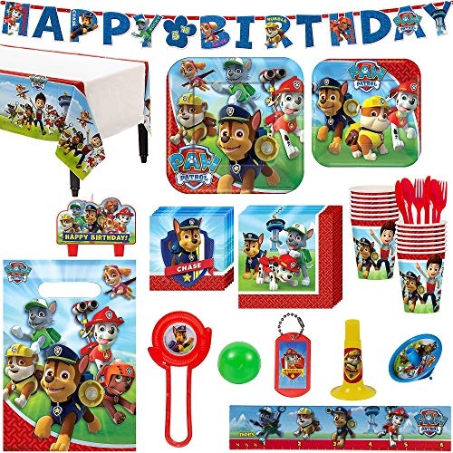 Paw Patrol Birthday Party Kit, Includes Happy Birthday Banner and Party Favor Pack, Serves 16, by Party City -