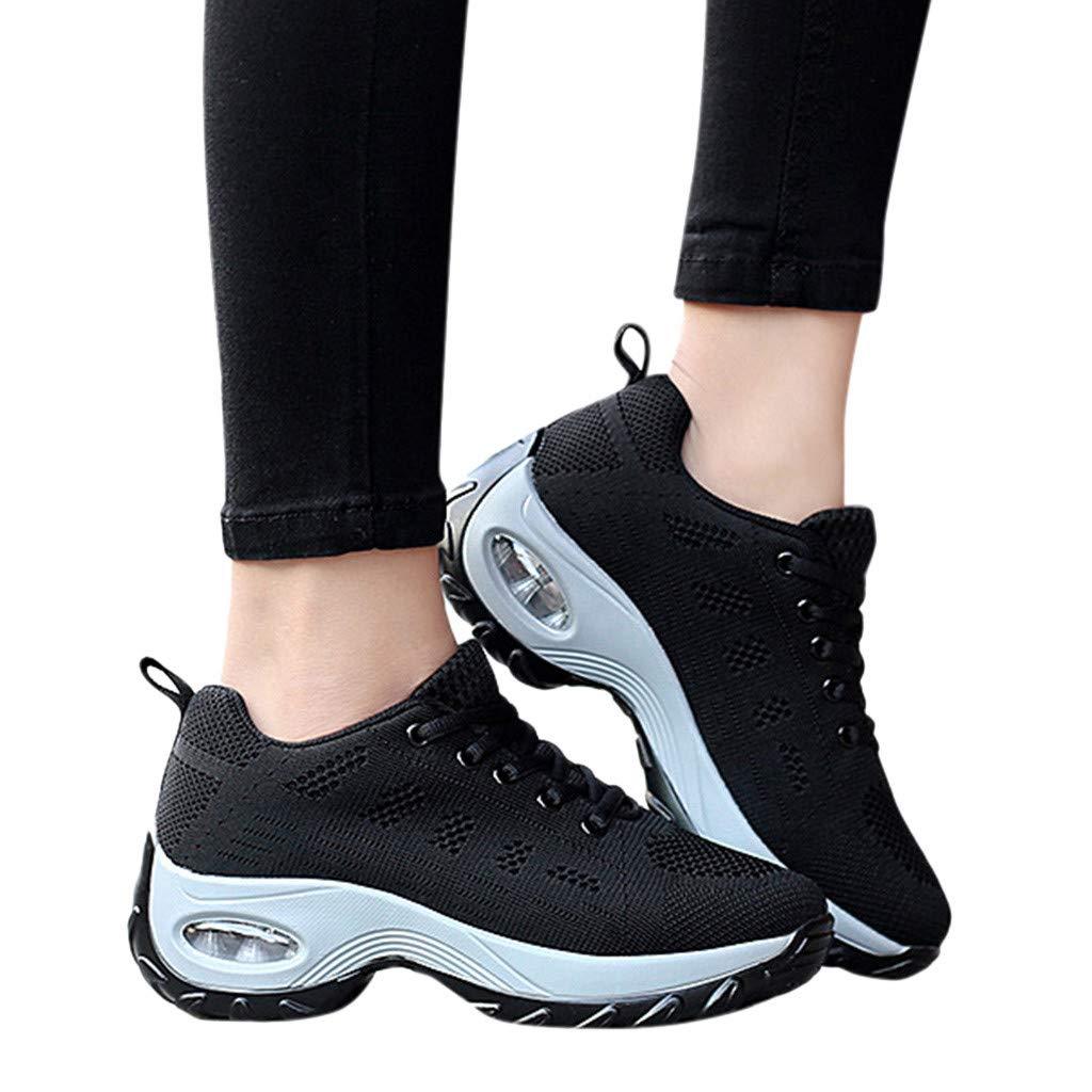 Shusuen Women's Leisure Mesh Thick Bottom Athletic Sneakers Hidden Heel Summer 2019 Shoes Loafers Black by Shusuen_shoes (Image #2)