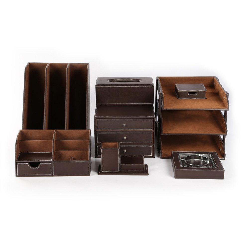 KINGFOM™ 8 PCS/set Office Desk Organizer, Files Holder Tray, Desk Drawer Cabinet, Stationery Organizer Box, Pen Pencil Holder, Tissue Box Cover etc.(Brown-T01)