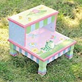 Teamson Design Corp Fantasy Fields - Magic Garden Thematic Kids Wooden Step Stool | Imagination Inspiring Hand Crafted & Hand Painted Details Non-Toxic, Lead Free Water-based Paint