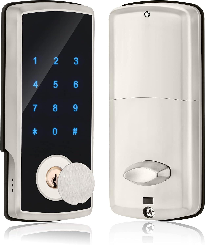 Smart Lock Front Door Keyless Entry Door Locks Deadbolt Lock with Keypad, Bluetooth Door Locks Touchscreen APP Control for Home Hotel Office, Auto Lock, Satin Nickel
