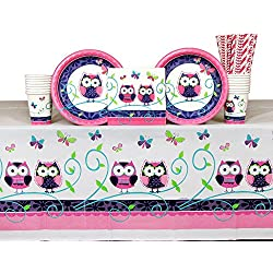 Cedar Crate Market Owl Pal Party Supplies Pack for 16 Guests: Straws, Plates, Napkins, Cups, and Table Cover