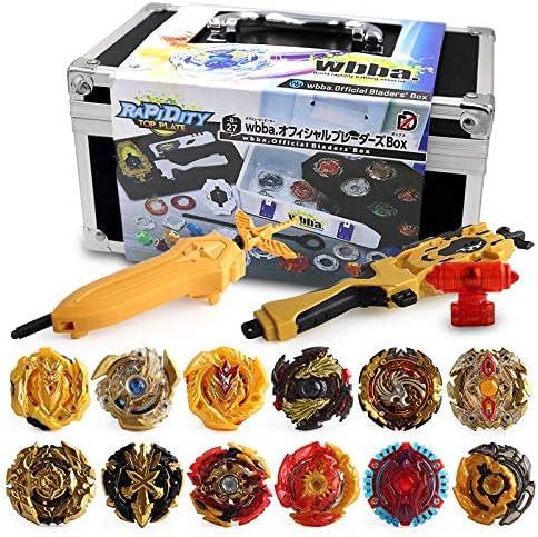 3T6B 12 Nouvelles Toupies avec 2 Lanceur Burst Turbo Mettre /à Niveau la Coquille,Jouet Arena,Gyro Pocket Box Pro -Cadeau pour Enfants dor