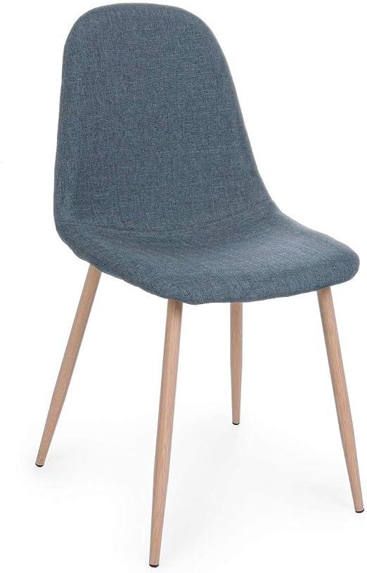 ARREDinITALY Lot 4 chaises Pieds Bois Assise Bleu: