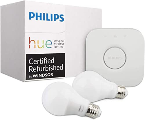 Philips Hue White Ambiance Smart Bulb Kit Compatible with Alexa Apple HomeKit and Google Assistant Renewed Two Bulbs Bridge