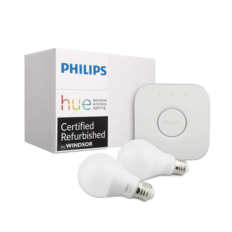 Philips Hue White Ambiance Smart Bulb Kit (Compatible with Alexa Apple HomeKit and Google Assistant) (Certified Refurbished) (Two Bulbs + Bridge)