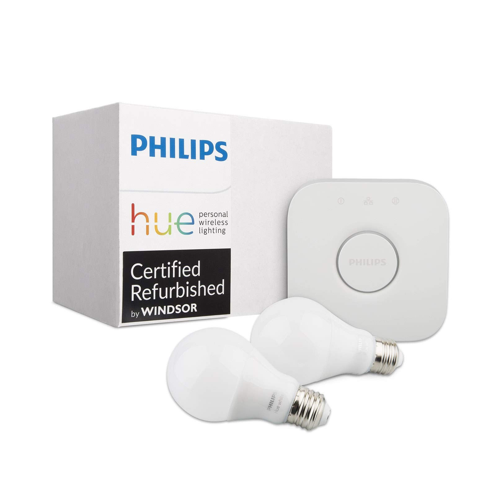 Philips Hue White Ambiance Smart Bulb Kit (Compatible with Alexa Apple HomeKit and Google Assistant) (Renewed) (Two Bulbs + Bridge)