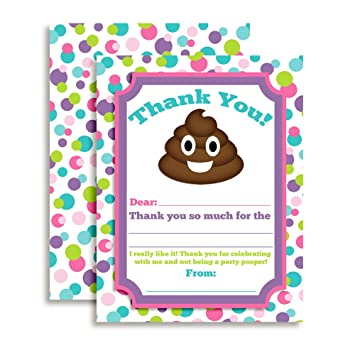 Poop Emoji Girl Themed Thank You Notes for Kids, Ten 4