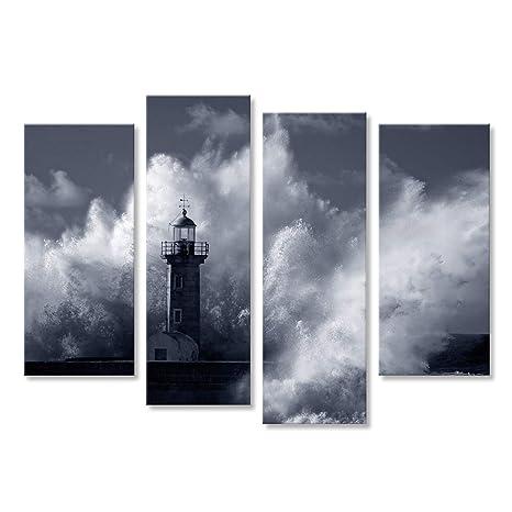 islandburner Cuadro Cuadros Olas del mar de tormenta Grandes más Antiguo Faro de Duero Muelle de