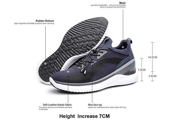 f86f6328c711 CHAMARIPA Elevator Sneakers Casual Lightweight Sports Shoes With Hidden  Lifting Heel For Man -2.76 inches Taller-H71C62V012D  Amazon.co.uk  Shoes    Bags
