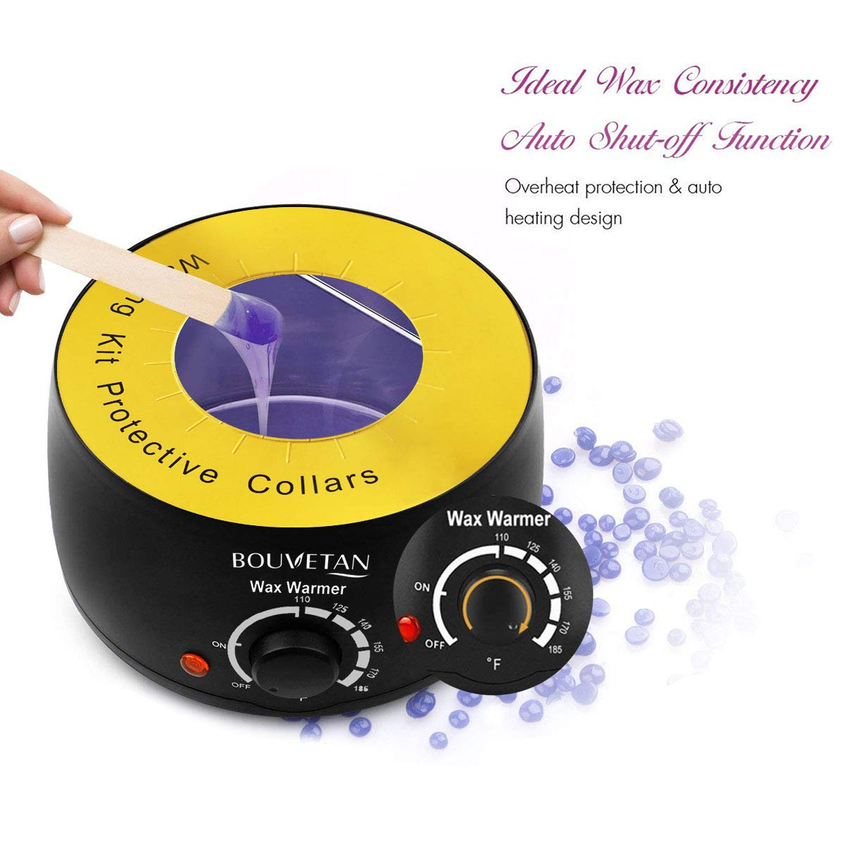 Wax Warmer, Professional Hair Removal Waxing Kit + 4 Scents Hard Wax Beans(3.5oz/Pack) + 20 Wax Applicator Sticks + 5 Protective Collars + 5 Small Bowls (Professional-grade Home Wax Kit) (15) (T01) by Keethem (Image #2)