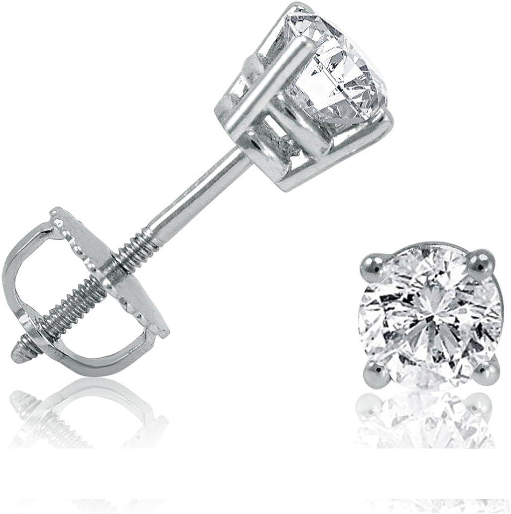 Diamant Solitaire Ohrstecker für Herren 585er 14 Karat Weißgold /& Zertifikat