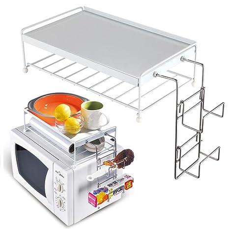 269c764dd1e8b3 BAKAJI Mensola per Forno a Microonde Organizzatore con Ripiano Superiore  per Accessori Cucina Supporto in Metallo