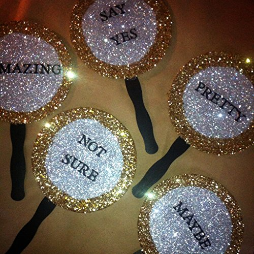 Set of 5 Dress shopping paddles for wedding dress shopping, prom, birthday, special event and more! Can be used for any event and personalized with any phrase you'd like.