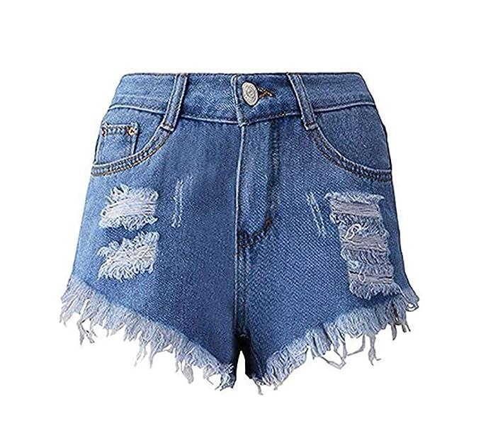 Huateng Pantalones Vaqueros de Cintura Alta Vintage de Las ...