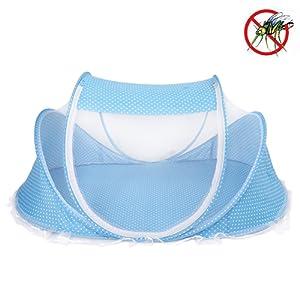 Berceau Bébés Portable Tente Avec Matelas Oreiller Moustiquaire Jouet 4 En 1 Lit Bébé Pliable 110x65x60 Cm ( Color : Bleu )