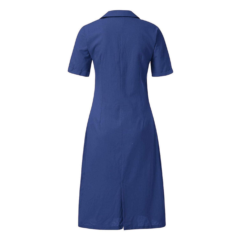 SNOWSONG Women Casual V Neck Button Down Dress Plus Size Linen Short Sleeve Loose Party Long Dress