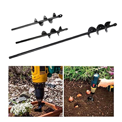 Volwco Earth Auger Spiral Drill Bit 45 * 4CM /& 30 * 8CM Bulbs Post Hole Borer With Non-Slip Hex Drive Garden Digger Attachments For Planting Flower