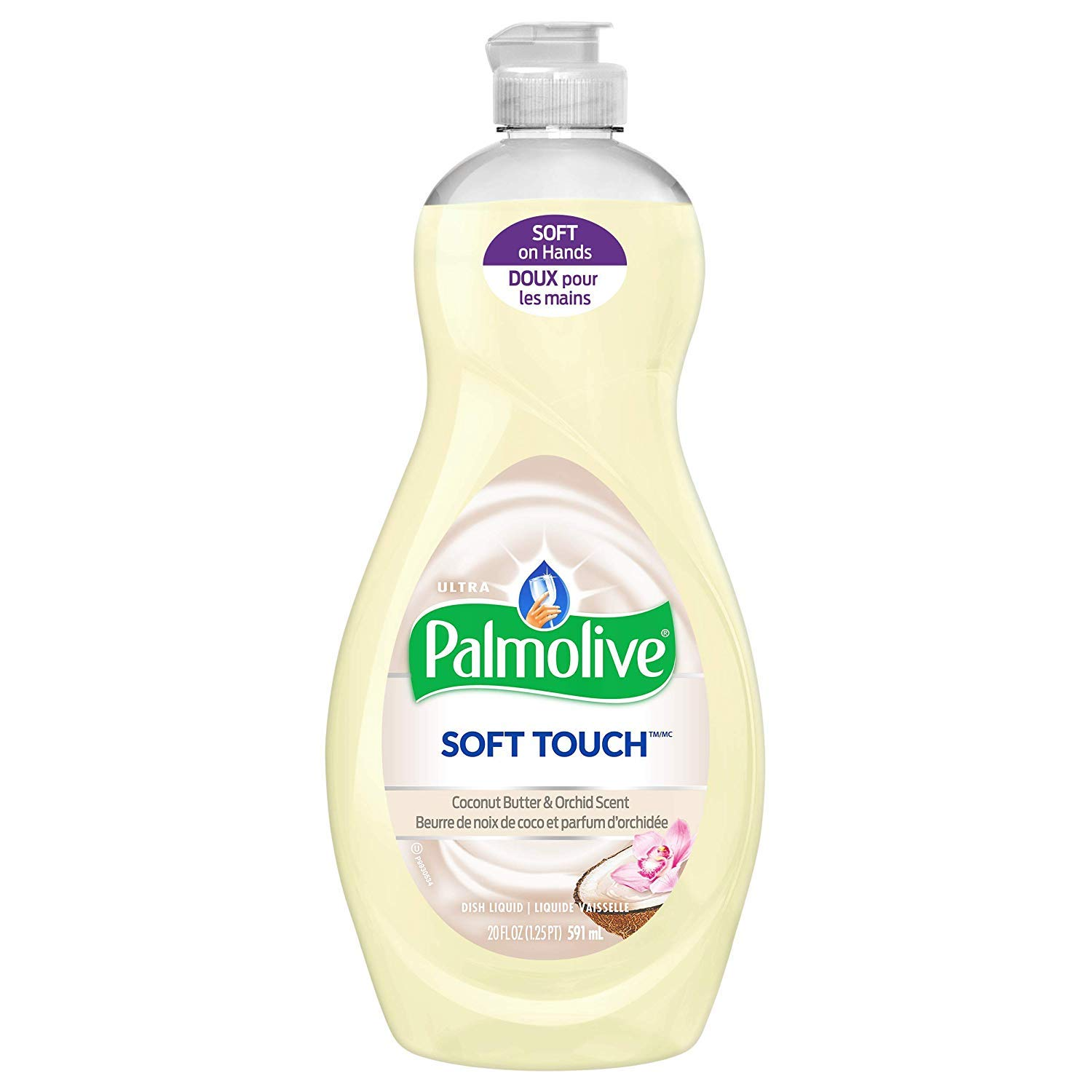 Palmolive Ultra Soft Touch Liquid Dish Soap | Soft Touch on Hands | Tough-on-Grease | Concentrated Formula | Coconut Butter & Orchid Scent - 20 Ounce Bottle (Pack of 2)