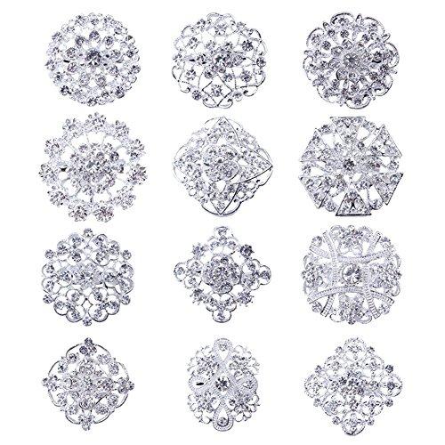 Reizteko Lot 12pcs Gold-Tone Rhinestone brooches,Crystal Wedding Bouquet kit Set (Silver) ()