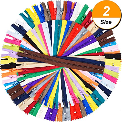 Shappy 9 Inch and 12 Inch Zippers Sewing 25 Colors Nylon Coil Colorful Zippers Bulk for Sewing Crafts, 100 (Sewing Zipper)