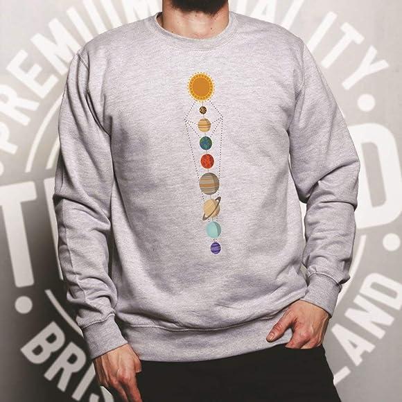 Tim And Ted k/ühle Nerdy Unisex-Pullover Geometrische Sonnensystem-Raum-Kunst