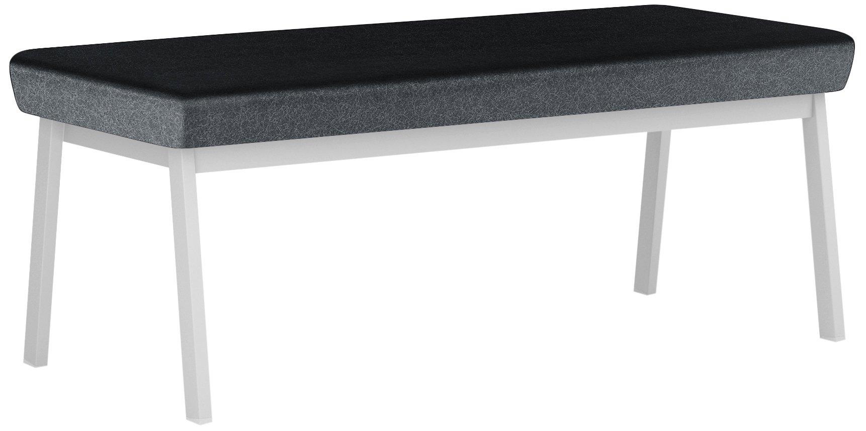 Newport Healthcare Vinyl 2-Seat Bench, Renaissance Carbon, Silver