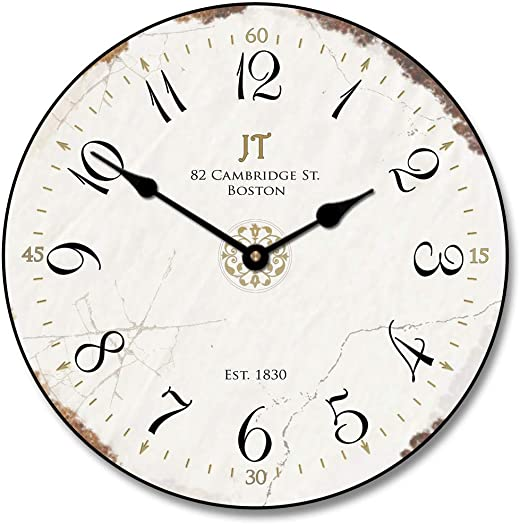 Vintage White Wall Clock, Available in 8 Sizes, Most Sizes Ship 2-3 Days,