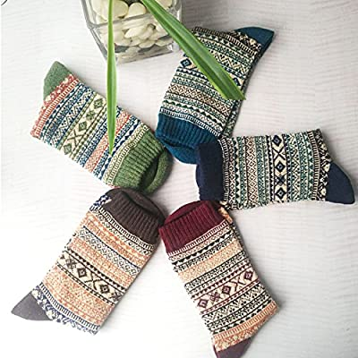 5 Pack Womens Warm Wool Socks Thick Knit Winter Cabin Cozy Crew Socks Gifts at Women's Clothing store