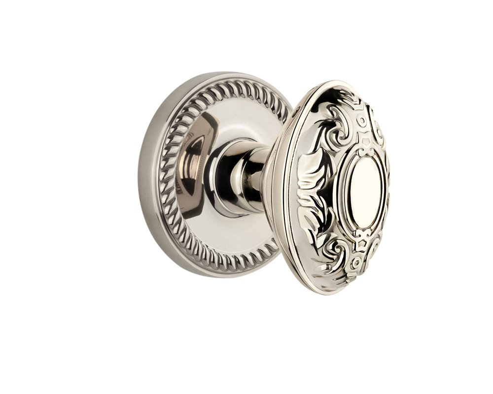 Grandeur Newport Rosette with Grande Victorian Knob Polished Nickel Double Dummy