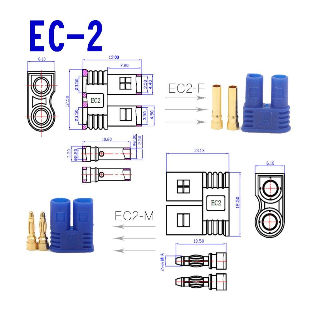 Boladge 5 Sets connecteur plaqu/é Or EC2 2mm plaqu/é Or pour Batterie RC Lipo m/âle + Femelle EC2