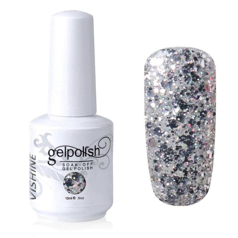 Vishine Gelpolish Long-lasting Gel Nail Polish Lacquer Shiny Color Soak Off UV LED Manicure Glitter Silver (1853)