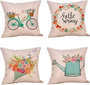 4 Pack Farmhouse Spring Sign Throw Pillow Cover Vintage Bicycle Flesh Flowers Butterfly Wreath Spring Decor Cushion Covers 18x18 Inch Linen Home Office Living Room Sofa (Spring is in the Air)